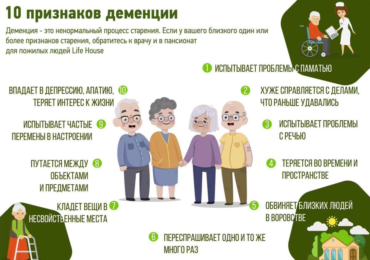 Признаки деменции у пожилых людей