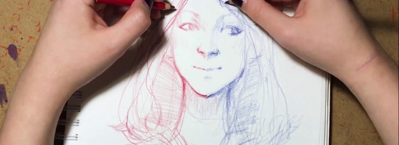Синхронное рисование двумя руками