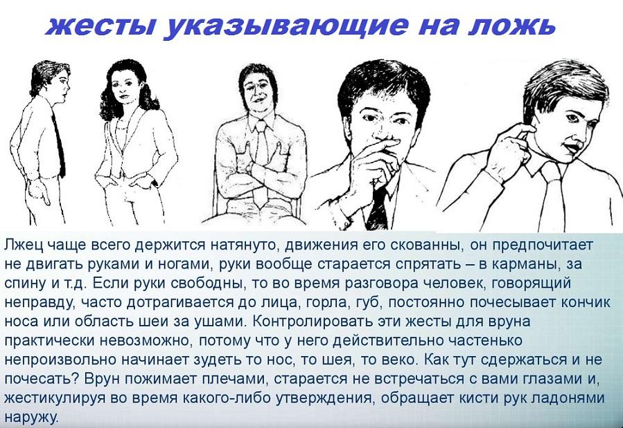 Признаки лжи – язык телодвижений